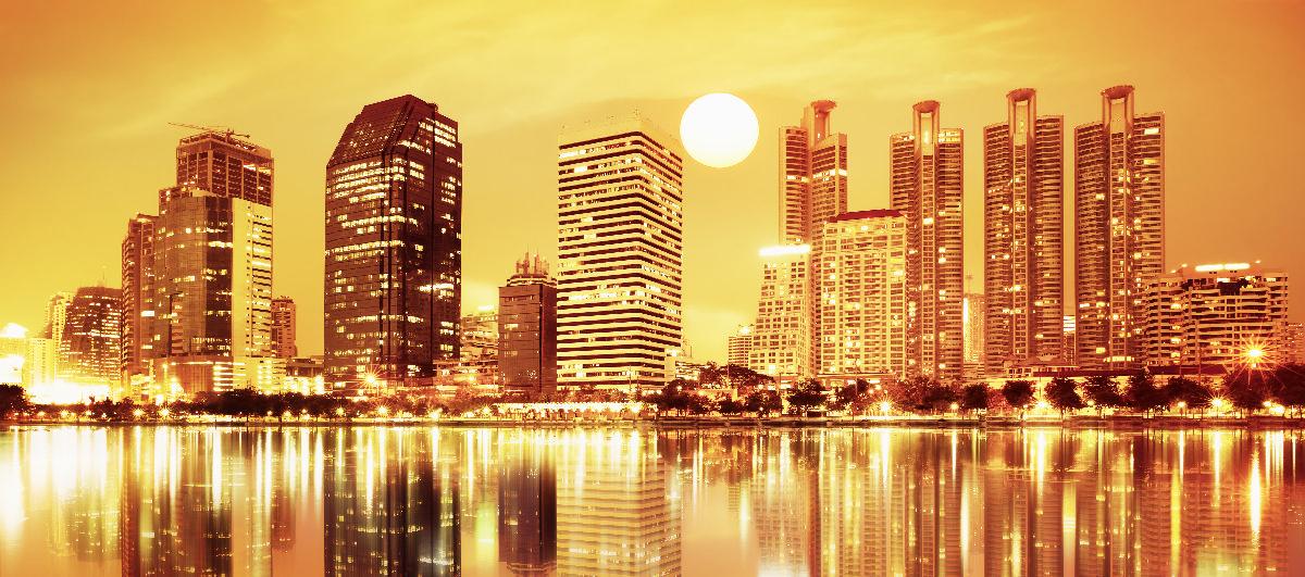 Картинка оранжевый город